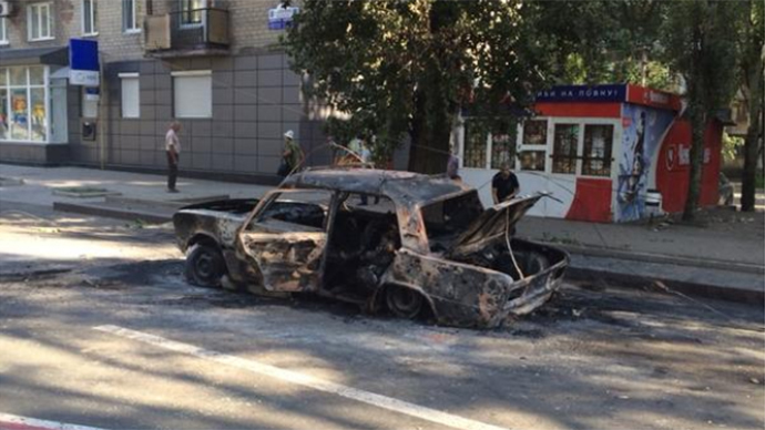 Three civilians burnt alive in car as Ukrainian army shells center of Donetsk