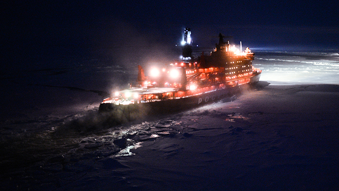NS 50 Let Pobedy nuclear-powered icebreaker sailing toward the North Pole. (RIA Novosti / Vladimir Astapkovich)