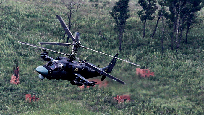 "Army aviation consisting of several KA-52 ""Alligator"" helicopters during the active phase of battalion tactical exercises (BTU) of the 5th Field Army in the Sergeyevsky polygon in Primorsky Krai (RIA Novosti / Vitaliy Ankov)"