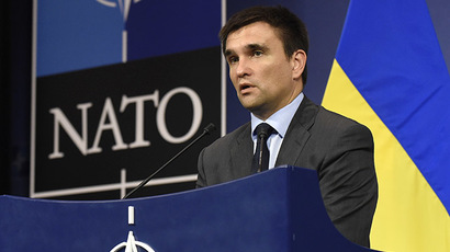 Ukraine's Foreign Minister Pavlo Klimkin speaks during a press conference as part of a North Atlantic Treaty Organization (NATO) Foreign Affairs Ministers meeting in Brussels on June 25, 2014. (AFP Photo / John Thys)