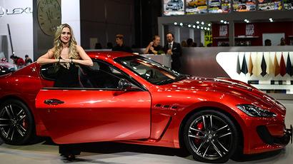 Maserati Grand Turismo car presented during the Moscow International Automobile Salon 2014 at Crocus Expo. (RIA Novosti / Vladimir Astapkovich)
