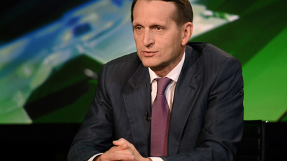 State Duma Speaker Sergey Naryshkin at RT on August 30, 2014 (Image by RIA Novosti)