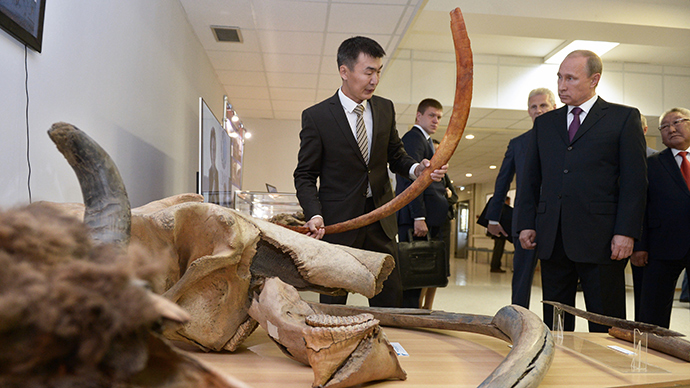 September 1, 2014. Russian President Vladimir Putin, second right, visits the P. Lazarev Mammoth Museum at the M. K. Ammosov North-Eastern Federal University in Yakutsk (RIA Novosti / Alexey Nokolsky)