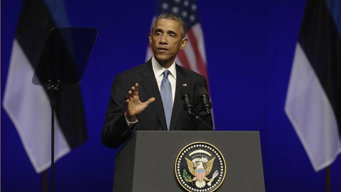 U.S. President Barack Obama speaks during his remarks at the Nordea Concert Hall in Tallinn September 3, 2014. (Reuters/Ints Kalnins)