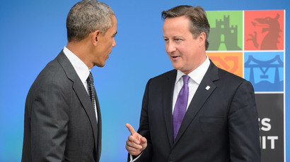 British Prime Minister David Cameron (R) speaks with US President Barack Obama during the 2014 NATO Summit in Newport, Wales, on September 4, 2014.(AFP Photo / Leon Neal )