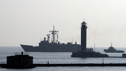 The U.S. Navy Warship USS Taylor enters the Ukrainian Black Sea port of Odessa during the Sea Breeze-2010 NATO military exercises (Reuters / Yevgeny Volokin)