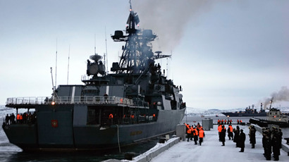 "The ""Admiral Levchenko"" anti-submarine warfare ship returning to base at Severomorsk in the Russian Northwest from an Atlantic voyage.(RIA Novosti / Alexei Danichev)"