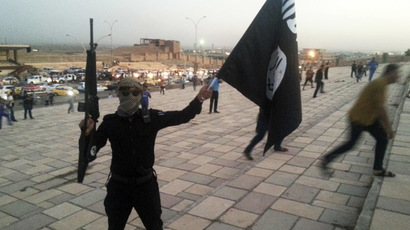 A fighter of the Islamic State of Iraq and the Levant (ISIL) holds an ISIL flag and a weapon on a street in the city of Mosul, June 23, 2014. (Reuters/Stringer)