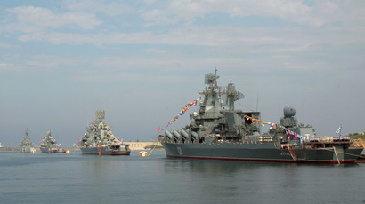 Ships of the Black Sea Fleet line up during Navy Day parade rehearsal in Sevastopol. (RIA Novosti/Vasiliy Batanov)