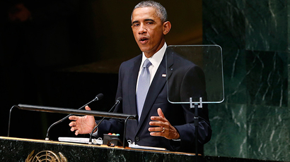U.S. President Barack Obama addresses the 69th United Nations General Assembly at U.N. headquarters in New York, September 24, 2014 (Reuters / Kevin Lamarque)