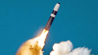UNDATED PHOTO - A Trident II, or D-5 missile, is launched from an Ohio-class submarine in this undated file photo (Reuters)