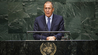 Russia's Foreign Minister Sergei Lavrov addresses the 69th United Nations General Assembly at the U.N. headquarters in New York September 27, 2014. (Reuters/Eduardo Munoz)