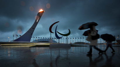 Fans near the Paralympic cauldron at Sochi's Olympic Park.(RIA Novosti / Julia Vynokurova)