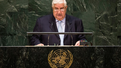 Deputy Prime Minister of Syria Walid Al-Moualem speaks at the 69th United Nations General Assembly on September 29, 2014 in New York City.(AFP Photo / Andrew Burton)