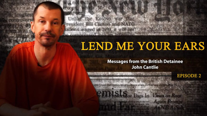 A still showing British hostage John Cantlie from the third propaganda video released by IS