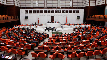Turkish Parliament convenes to vote on a motion which would allow the government to authorise cross-border military incursions against Islamic State fighters in Syria and Iraq, and allow coalition forces to use Turkish territory, in Ankara October 2, 2014. (Reuters / Umit Bektas)