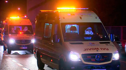 An ambulance carrying a Spanish nurse infected with Ebola arrives at the Carlos III Hospital in Madrid early October 7, 2014 in this still image from video. (Reuters / Reuters TV)