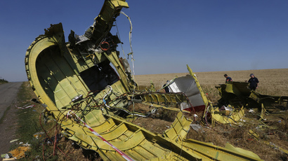 Members of a group of international experts inspect the site where the downed Malaysia Airlines flight MH17 crashed, near the village of Hrabove (Grabovo) in Donetsk region, eastern Ukraine. (Reuters / Sergei Karpukhin)