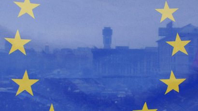A view of Kiev's Independence square seen through a European flag, on March 2, 2014. (AFP Photo/Yuriy Dyachyshyn)