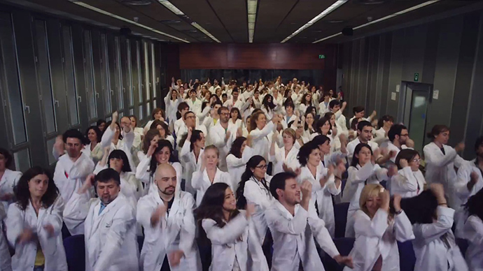 Scientists in Barcelona dancing to raise funds for cancer research
