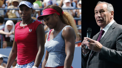 Venus (L) and Serena Williams (Reuters / Ray Stubblebine ) and Shamil Tarpischev (RIA Novosti / Vladislav Astapkovich)