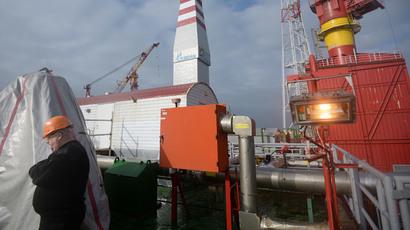 Prirazlomnaya ice-resistant oil platform for processing oil from Prirazlomnoye field in the Pechora Sea. (RIA Novosti / Maksim Blinov)