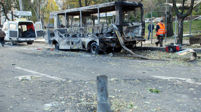 A Donetsk bus stop, which was destroyed by a Ukrainian military artillery attack.(RIA Novosti / Gennady Dubovoy)