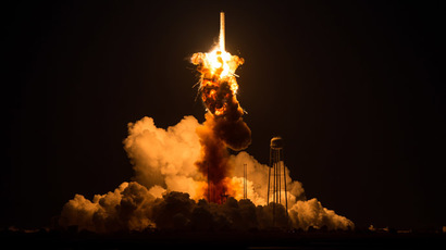 The Orbital Sciences Corporation Antares rocket, with the Cygnus spacecraft onboard suffers a catastrophic anomaly moments after launch from the Mid-Atlantic Regional Spaceport Pad 0A, October 28, 2014. (AFP Photo/NASA)