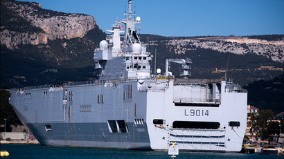 The French Navy's Tonnere multi-purpose amphibious assault ship of the Mistral class at the Toulon seaport. (RIA Novosti/Alexander Vilf)