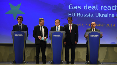 Russian Energy Minister Alexander Novak, EU Energy Minister Gunther Oettinger, EC President Jose Manuel Barosso and Vice President Miros Sefkovic, and Ukrainan Energy Minister Yuri in Brussels on October 30, 2014 (AFP Photo / Emmanuel Dunand)