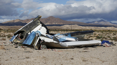 A piece of debris is seen near the crash site of Virgin Galactic's SpaceShipTwo near Cantil, California November 1, 2014. (Reuters/Lucy Nicholson)