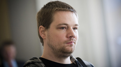 One of the co-founders of the file-sharing website, The Pirate Bay, Fredrik Neij. (AFP Photo/Jonathan Nackstrand)
