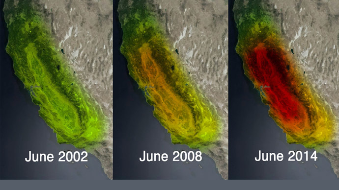 This trio of images obtained October 6, 2014 from NASA/JPL-Caltech depicts satellite observations of NASA/JPL-Caltechdeclining water storage in California as seen by NASA's Gravity Recovery and Climate Experiment(GRACE) satellites in June 2002 (L), June 2008 (C) and June 2014. (NASA/JPL-Caltech)