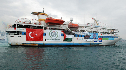 "File picture shows an undated image taken from the Free Gaza Movement website on May 28, 2010 of the Turkish ship Mavi Marmara taking part in the ""Freedom Flotilla"" heading towards the Gaza Strip.  (AFP Photo / HO / Free Gaza Movement)"