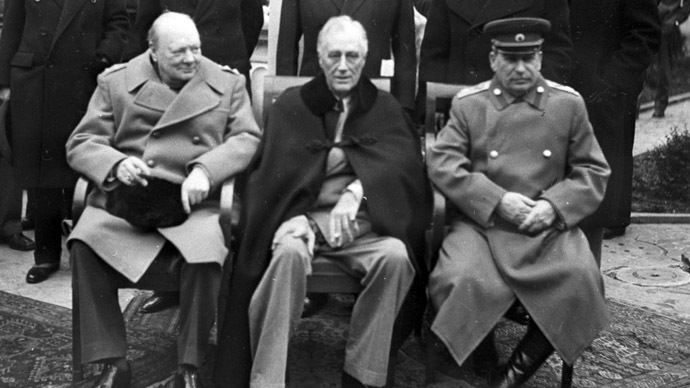 The Yalta (Crimea) Conference of Allied leaders (February 4-11, 1945). First row, sitting: British Prime Minister Winston Churchill, U.S. President Franklin Delano Roosevelt, and U.S.S.R. Marshal Josef Stalin before a meeting. (RIA Novosti)