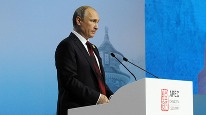 "Russian President Vladimir Putin speaks during the session entitled ""What Does the Asia Pacific Mean to Russia?"" at the APEC summit. (RIA Novosti/Michael Klimentyev)"