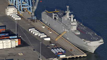 An aerial view shows the Mistral-class helicopter carrier Vladivostok constructed for Russia at the STX Les Chantiers de l'Atlantique shipyard site in the port of Montoir-de-Bretagne near Saint Nazaire, western France, September 22, 2014. (Reuters/Stephane Mahe)
