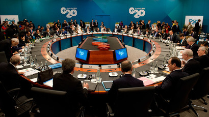 World leaders attend the first plenary session at the G20 summit in Brisbane on November 15, 2014.(AFP Photo / Alain Jocard)