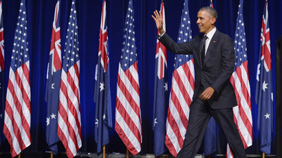 US President Barack Obama waves as he arrives to speak at the University of Queensland on the sidelines of the G20 Summit in Brisbane on November 15, 2014.(AFP Photo / Mandel Ngan)