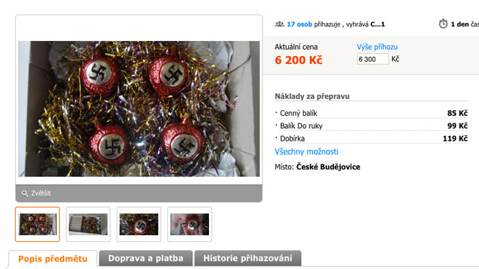 SS Christmas decorations on Czech auction site spark outrage