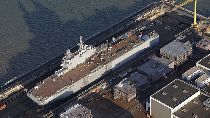 An aerial view shows the Mistral-class helicopter carrier Sevastopol at the STX Les Chantiers de l'Atlantique shipyard site in Saint-Nazaire, western France, September 22, 2014. (Reuters/Stephane Mahe)