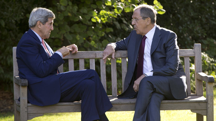 U.S. Secretary of State John Kerry (L) and Russian Foreign Minister Sergey Lavrov (Reuters/Carolyn Kaster)