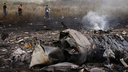 Emergencies Ministry members walk at the site of a Malaysia Airlines Boeing 777 plane crash, MH17, near the settlement of Grabovo in the Donetsk region, July 17, 2014. (Reuters/Maxim Zmeyev)
