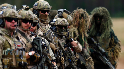 "Members of Poland's special commando unit Lubliniec participate in the ""Noble Sword-14"" NATO international tactical exercise at the land forces training centre in Oleszno, near Drawsko Pomorskie, northwest Poland September 9, 2014.(Reuters / Kacper Pempel)"