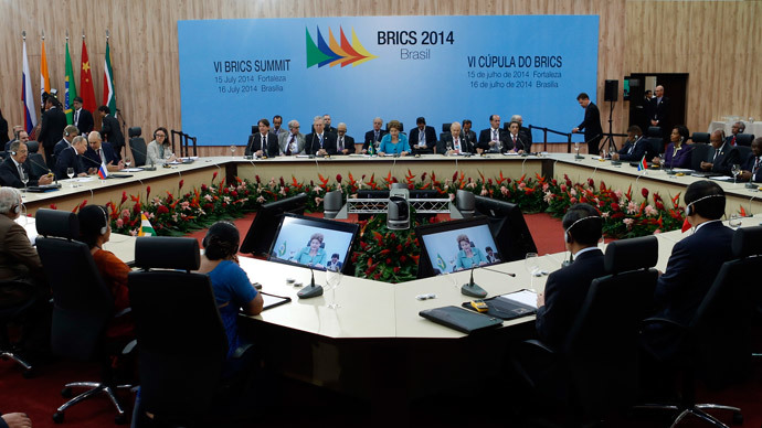 Leaders representing Brazil, Russia, India, China and South Africa attend the VI BRICS Summit in Fortaleza July 15, 2014.(Reuters / Nacho Doce )