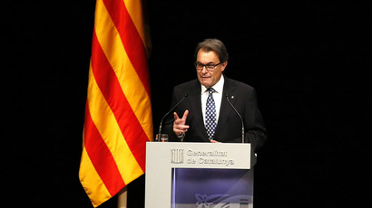 Catalonia's President Artur Mas attends a conference in Barcelona, assessing the situation after a symbolic vote on the region's independence from Spain, November 25, 2014. (Reuters/Gustau Nacarino)