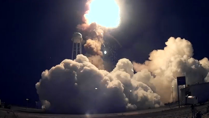 Inside fireball: Close-up footage from the Antares Rocket ...