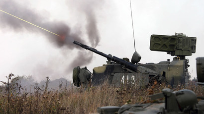A Shilka self-propelled anti aircraft system fires during the battalion task force drill of the Baltic Fleet's coastal defense troops supported by air force at the Pavenkovo base of the Baltic Fleet, Kaliningrad Region. (RIA Novosti / Igor Zarembo)