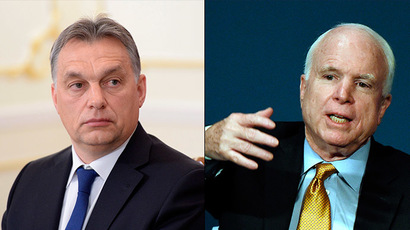 Prime Minister of the Republic of Hungary Viktor Orban(RIA Novosti/Aleksey Nikolskyi) and Senator John McCain. (AFP Photo/Mark Ralston)