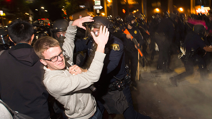 Rubber bullets, tear gas in Berkeley as police disperse #EricGarner, #Ferguson rally